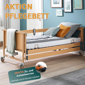 Pflegebett Dali E mit Holzseitengitter